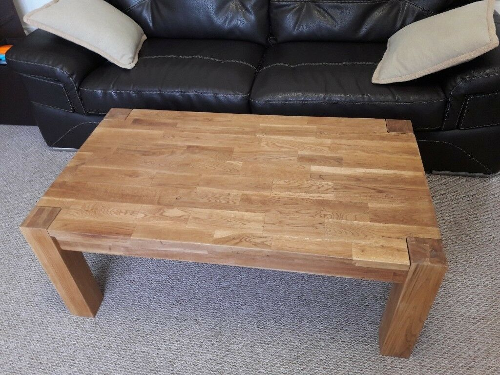 Chunky Solid Oak Wood Large Coffee Table