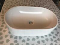 White Ceramic Countertop Oval Sink Unused
