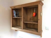 Bespoke antique pine pan and recipe book wall cabinet