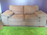 Mid-brown 2-seater sofa bed, soft washable cord fabric, very comfy and excellent condition