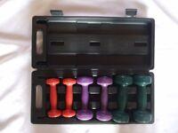 Set of 3 pairs of V-Fit dunbbells, 0.5,1&1.5kg