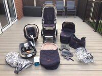 Mamas and Papas Armadillo flip XT Dark Navy Pushchair/bassinet/car seat/iso base