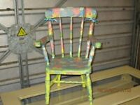 Beautiful reworked childrens chair with peppa pig decoupage finish by Doffidatt Creations