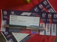 Silverstone F1 Grand Prix tickets unwanted 4 days GENERAL ADMISSION