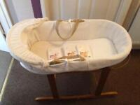 Moses Basket with stand and 4 brand new sheets