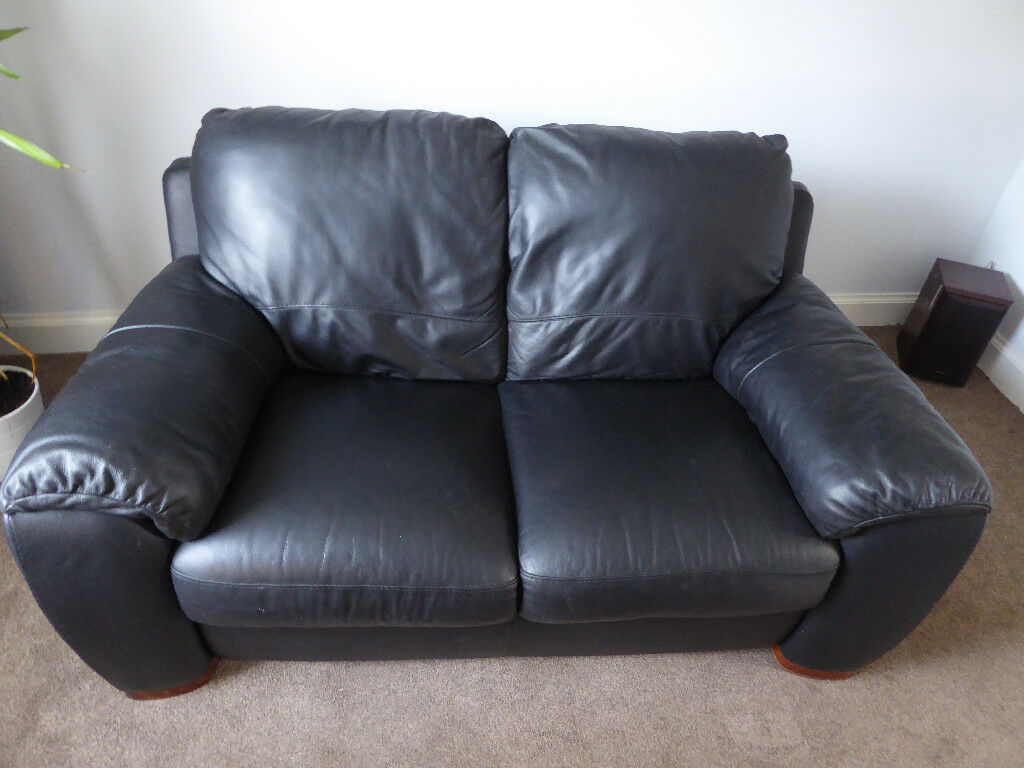 2 Seater Black Leather Sofa No Sagging Good Quality Not A Very