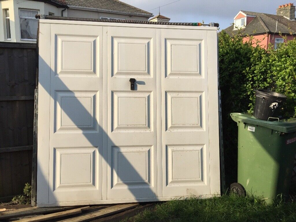 Garage Door Metal Up And Over Georgian Style White In Lowestoft