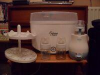 Bottle/jar warmer, bottle steriliser plus 3 bottles