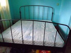 SUPER KING BLACK METAL BED FRAME & MATTRESS FOR SALE.