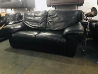2 top quality Black leather 2 seater sofas