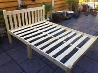 """Double 4' 6"""" - Solid Natural Pine - Bed Frame"""