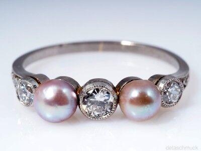 antiker Ring Diamanten Natur Perlen 950 Platin (Antike Perle Ring)