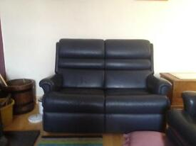 Blue leather settee