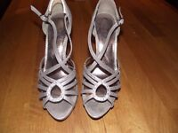 """Silver Party Shoes with 5"""" heel, Size 7. Excellent condition, worn only once"""
