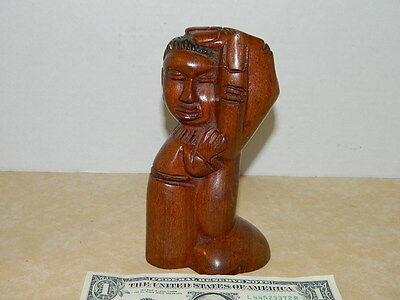 VINTAGE Art Deco Statue DARK WOOD CARVING WITH ISAIAH VERSE ON BOTTOM