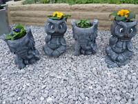 elephant and owl planters garden ornaments £12 each