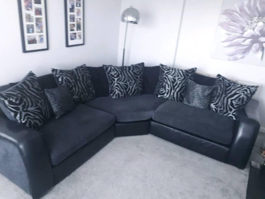 Corner Sofa Black And Grey Leather Fabric In Blacon