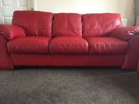 3 & 2 seater Real Italian Leather Settees and a FREE 2 seater cream leather settee