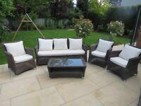 John Lewis Dante 6 Seat Rattan Furniture Set inc Coffee Table & Cream Cushions Excellent Condition