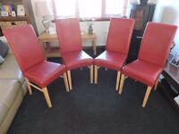 Scroll Back Dining Chairs x4 - Red Faux leather, Used, Cost £70 each new (BARGAIN)