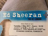 Ed sheeran standing ticket 2nd may