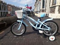 "Apollo Cherry Lane Kids' Bike - 16"" including stabilisers - good condition"