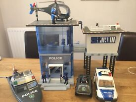 Playmobil police station and vehicles