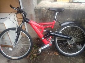 full suspension mountain bike. Fully serviced to ensure perfect working order. Alloy rims