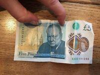 RARE AA22 GENUINE GBP £5 NOTE