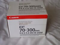 Canon 70-300mm DO IS USM zoom lens boxed.