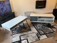 Coffee Table & TV Unit Set NEW Orla Blush Retro Modern Table & Tv Stand Grey TV Unit & Coffee Table