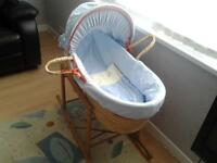 UNUSED, BABIES ' R' US MOSES BASKET WITH ROCKING STAND***FREE DELIVERY HULL***