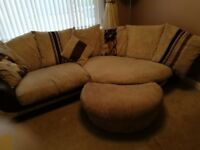 4 seater half moon sofa with foot stool
