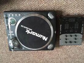 Numark TTX1 and Numark DM950 Mixer
