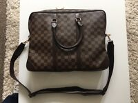Louis Vuitton Large Briefcase/Messenger/Tote. Genuine High Qualtiy Leather, LV Zips & Padlock