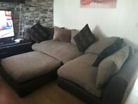 Can delivet lovely dfs brown fabric corner sofa with footstool in good condition