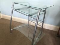 Glass and Metal Framed Computer Desk with pull out keyboard Hi30in/76cm W29in/74cm D21.5in/54cm