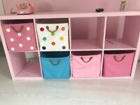 Pink Ikea Kallax + Lazorri Boxes