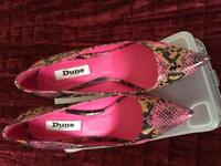 Dune Snake Print Court Shoes size 5