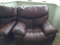 Real Leather full reclining three seater and two singe arm chairs in a nutty Brown