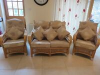 Final price Conservatory suite as new, cane bases, quality beige seat coverings. Should be seen