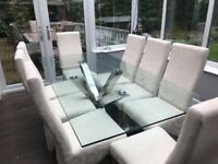 Glass and chrome table and 8 chairs