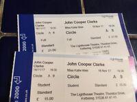 2x John Cooper Clarke Tickets - Kettering Lighthouse Theatre, 16th November