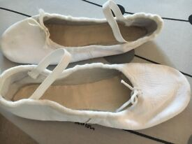 Ballet Shoes - White Leather Porselli