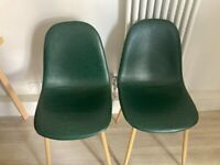 Dark green leatherette elegant chairs vintage style