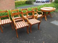 Yew Dining Table & 6 Chairs