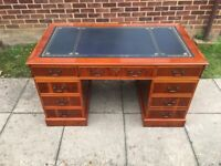 Large Chesterfield style Twin Pedestal Writing Desk with Blue Leather Top Inlay & Original Key