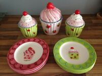 Baxter's brand new cupcake plates and jars