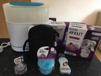 Philips Avent steriliser, bottles, breast pump, bottle bag etc