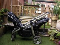 Brevi Twin travel system pushchairs. In excellent good condition cost £750 3 years ago.